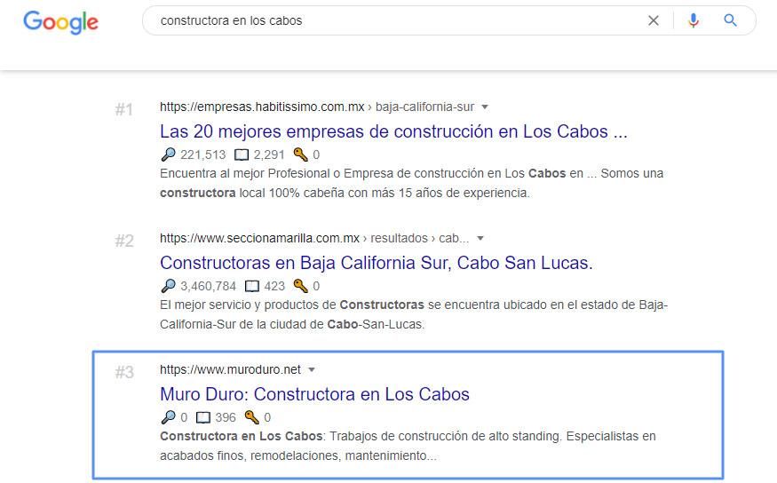 Seo local pagina web de constructora
